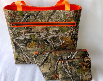 527a4360ff Camo Tote Set - Camp and Orange Tote - Camouflage Tote Bag - Camo Cosmetic  Bag - Large Cosmetic Bag - Orange Cosmetic Bag - Camo Travel Bag