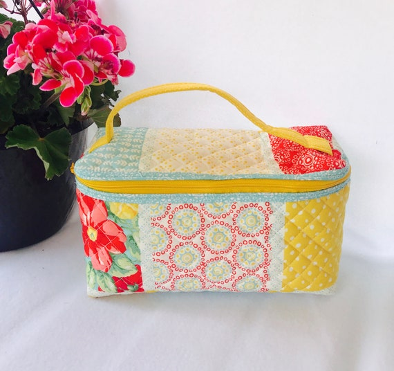 964392e36444 Quilted Makeup Bag Quilted Cosmetic Bag Vintage Makeup Bag