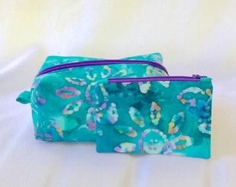 Watercolor Makeup Bag - Turquoise Cosmetic Bag - Box Cosmetic Bag - Large Cosmetic Bag - Travel Pouch - Colorful Makeup Bag - Purple Bag