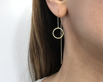 Long Yellow Threader EarringsLeaf earringsLong Chain earringsAlloy gold plated earrings24K Champagne Gold Plated Brass Round Link Chains