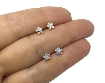 cfc41e6536 Sterling Silver tiny flower studs ,dainty stud, Tiny stud, Flower stud, flower  earrings, small earrings,CZ flower earrings, bridal earrings