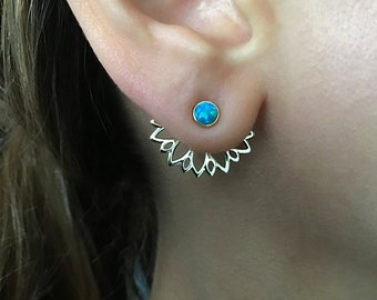 Front back lotus flower TITANIUM EARRINGS stud blue sunflower ear jacket earrings