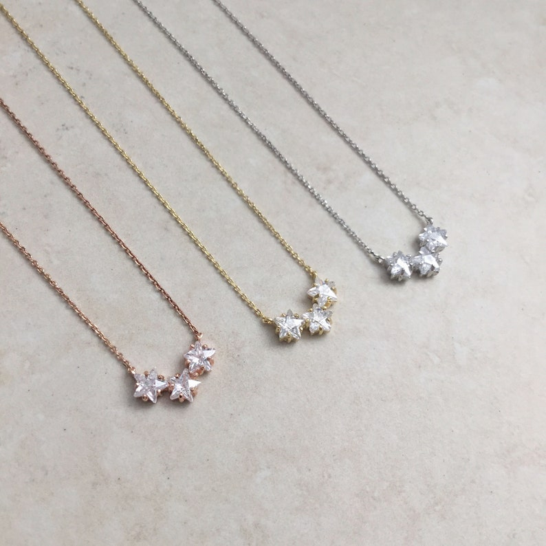 01a0b2b43345e Sterling silver 3 stars necklace, Star necklace, Rose Gold necklace,  Layering necklace, Dainty necklace,3 stars necklace, star jewelry