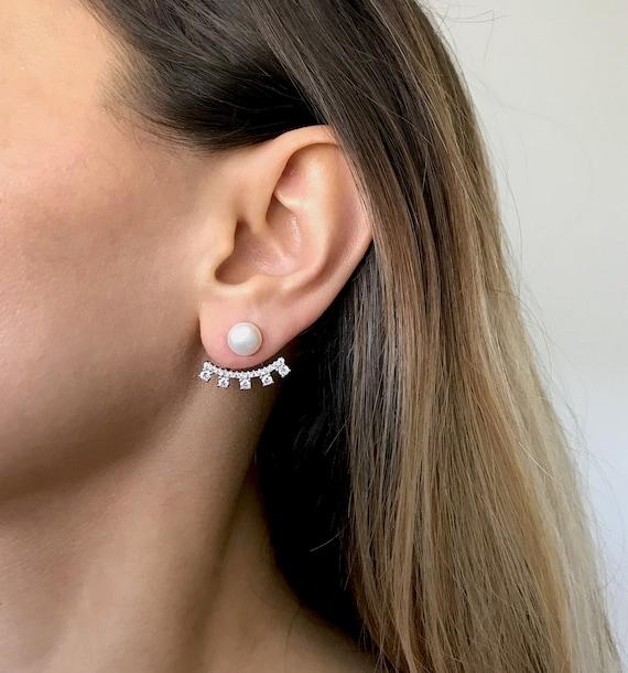 Ear jacket earrings bridal earrings CZ ear jacket tiny ear jacket Minimalist ear jackets ear jacket Modern ear jackets