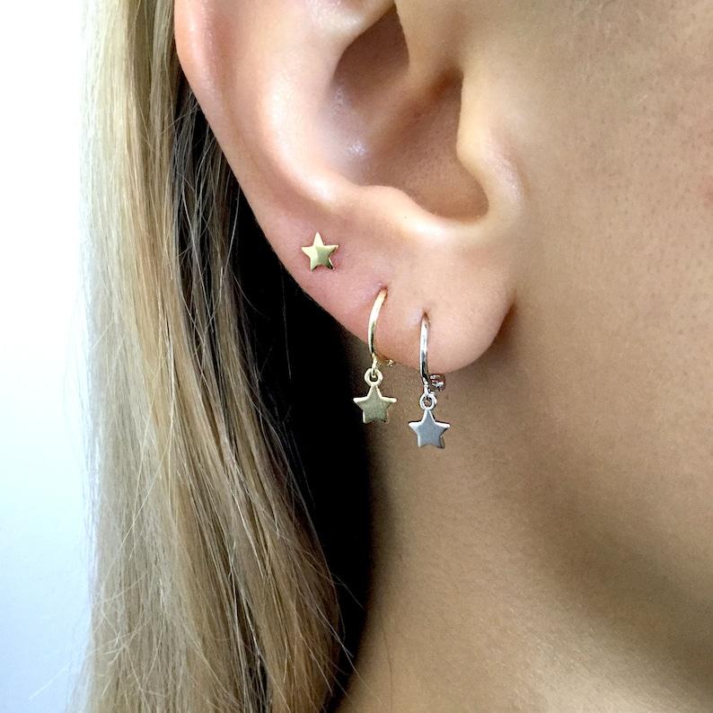 db5c78a83185 Star Sterling Silver hoop earrings Tiny hoops Silver hoop | Etsy