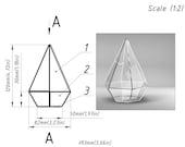 Terrarium Brillant3d. Pattern printable Stained glass terrarium - florarium schem. Digital project 00097