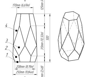 Print  stained glass vase pattern (drawing) / / Geometric glass water-glass bowl / / Geometric by Brillant3d