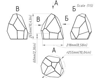 Steined glass Geometric terrarium Florarium plant. Digital print patern book for craft handmade geometric glass decor. Brillant3d 0131