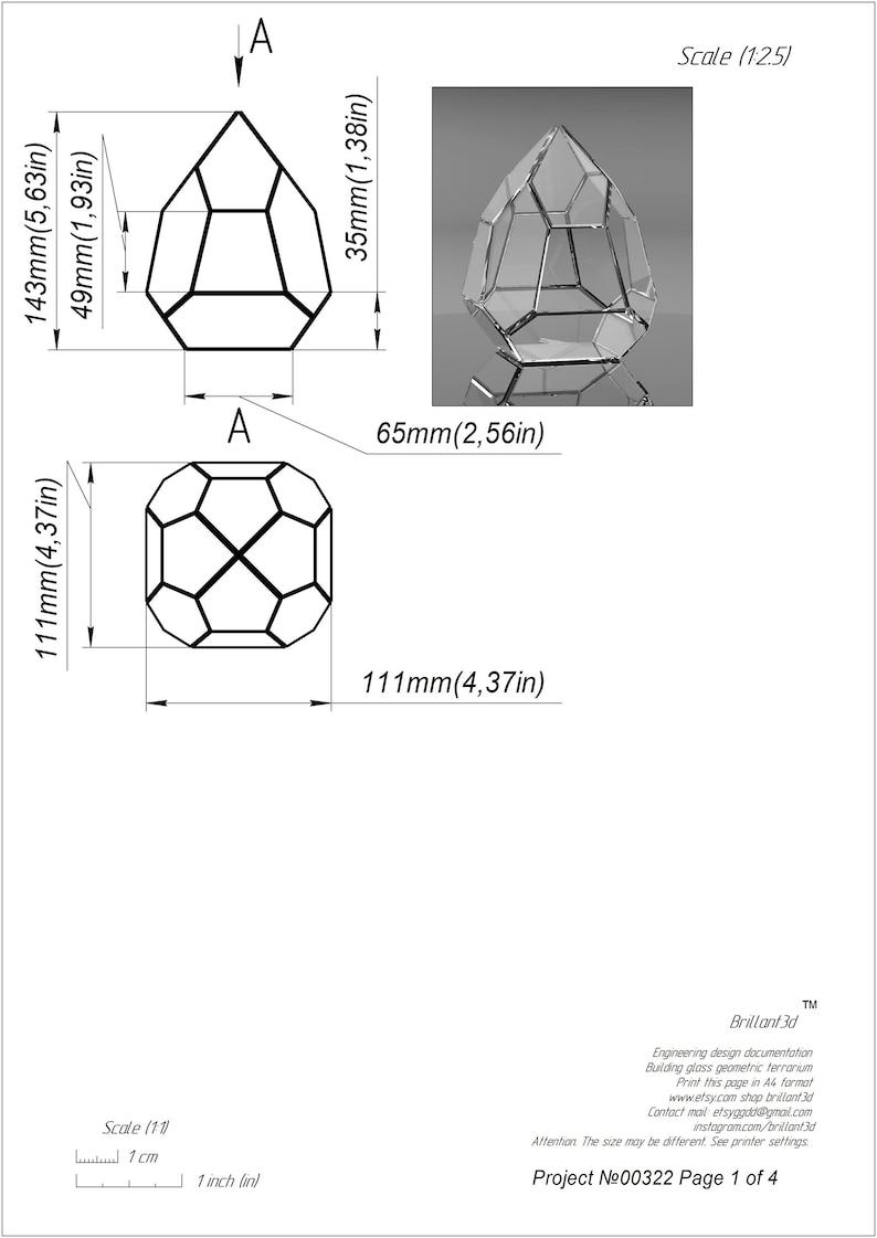 Clear Glass Geometric Terrarium Project 00322 Printable Etsy