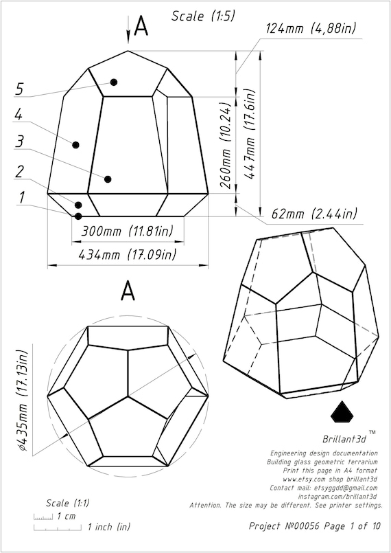 Stained Glass Terrarium Printable Pattern Drawing Etsy