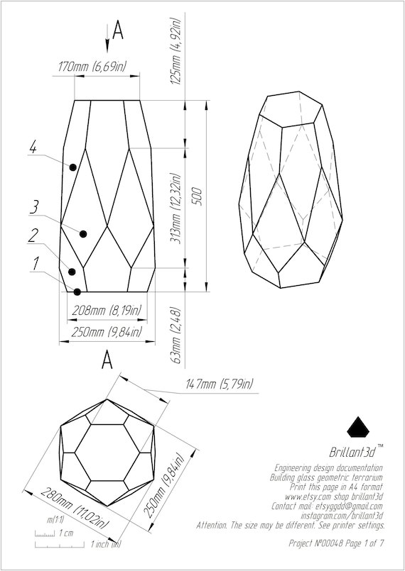Stained Glass Vase Printable Pattern Drawing Etsy