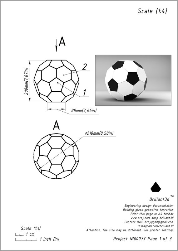 Printable Pattern FIFA 2018 Glass Soccer Ball Terrarium