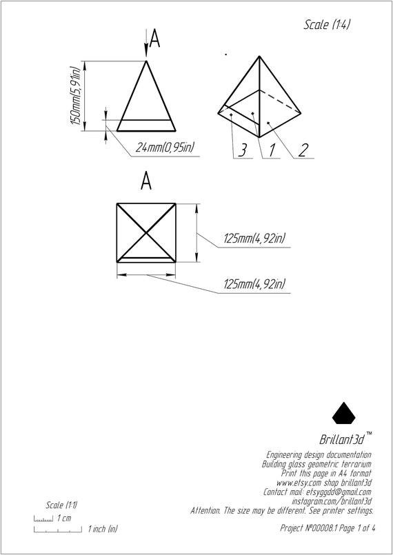 Small Geometric Glass Pyramid Terrarium Florarium Printable