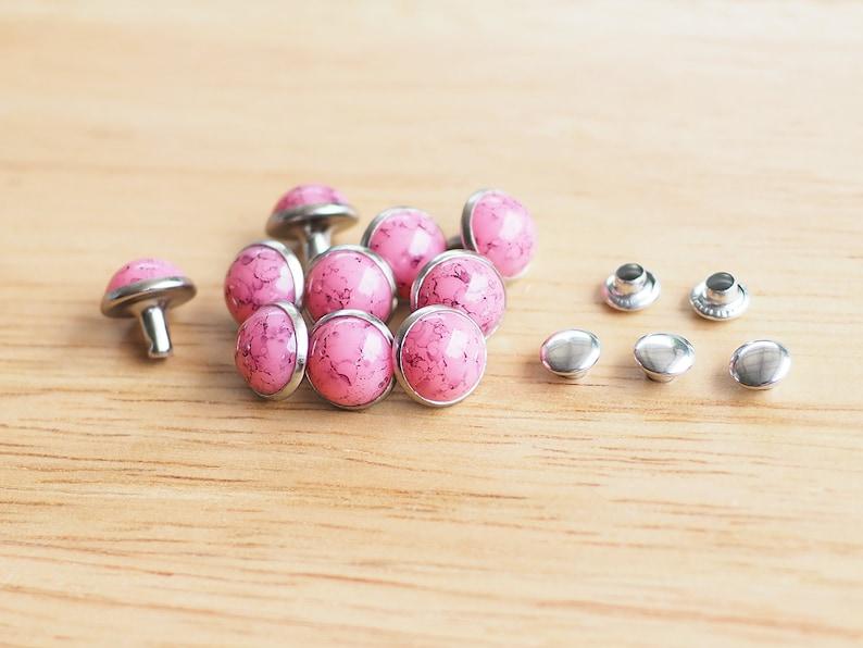 Fashion stud Leather craft Pink Rivet Stud 20 Sets of 9.4 mm Pink Turquoise Rivets Decoration findings Dome Rivet