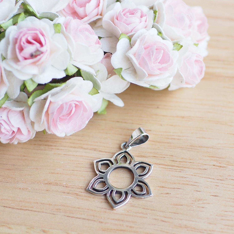 15 Mm Sterling Silver Lotus Blossom Charm Lotus Flower Etsy