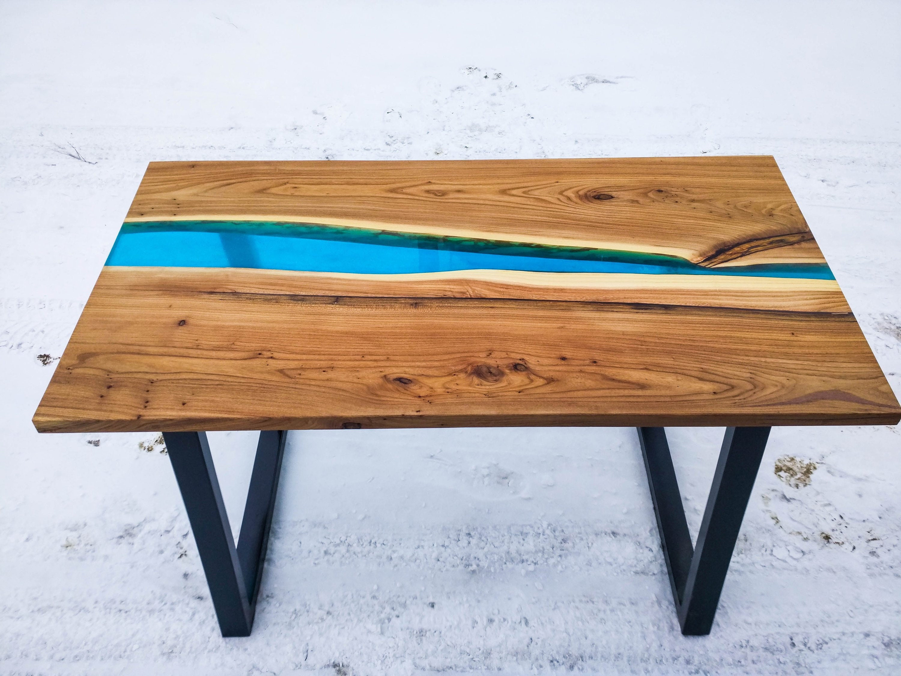 Sold Loft Epoxy Resin Solid Wood River Dining Table Desk