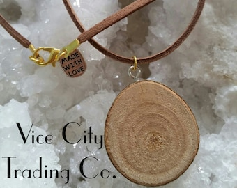 """16"""" Vegan Brown """"Leather"""" & Rosewood Necklace"""