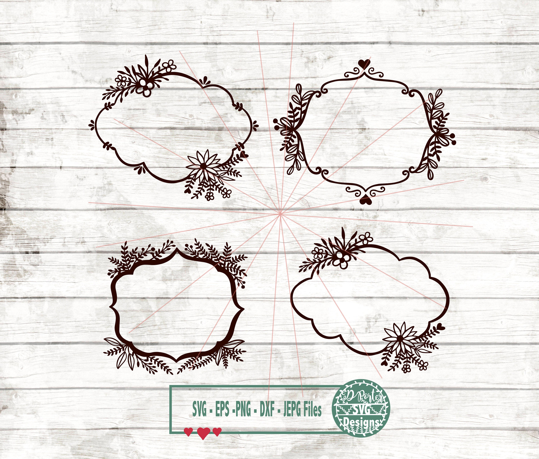 Monogram frame BUNDLES svg png cameo cricut flower frame | Etsy
