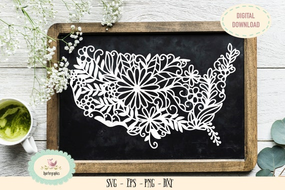 cameo cricut cut file USA America map zentangle paper cut SVG flowers zentangle paper cut american map stickers Independence day svg