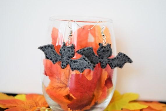 Fuzzy Bat Felt Dangle and Drop Earrings