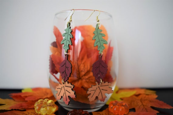 Wooden Autumn Leaves Dangle and Drop Earrings