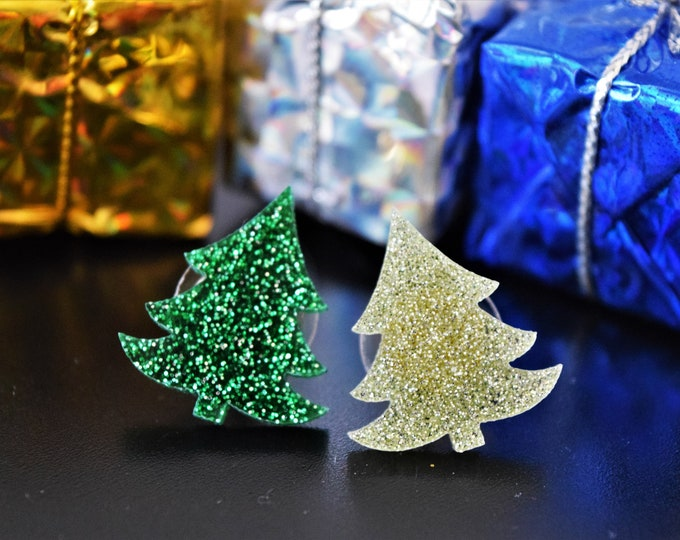 Featured listing image: Glittery Xmas Trees Holiday Earring Studs