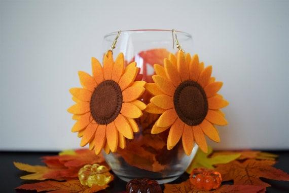 Sunflower Felt Dangle and Drop Earrings