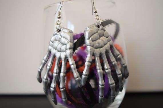 Silver Skeleton Hands Dangle and Drop Earrings