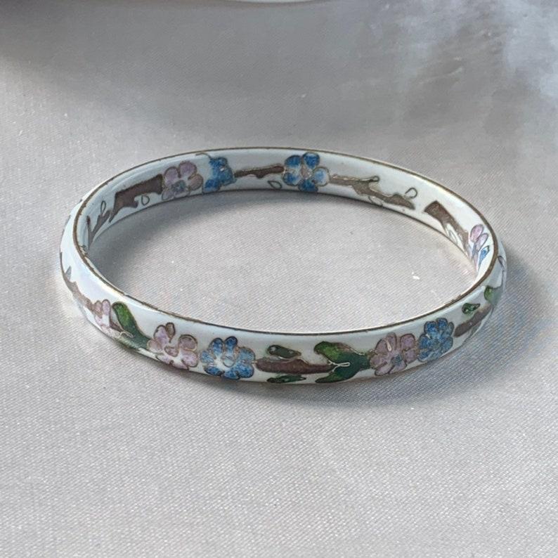 Vintage 1980s UK Cloisonn\u00e9 enamel and ceramic flower bangle