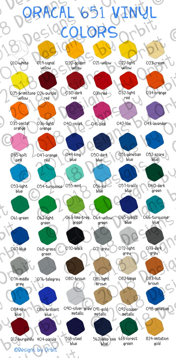 Color Chart File For Oracal 651 Etsy
