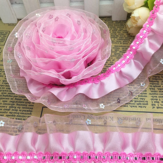 1//3//5Yards 3-Layer 45mm Lace Colorful Garment Gathered Pleated Trim 4 colors