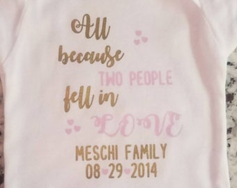 Personalised Bodysuit All BecauseTwo People Fell In Love Glitter Bling