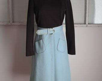 Vintage 1970s Hand-built Zig Zag Brown and Sky Blue Dress