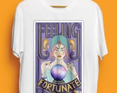 Tarot Card Fortune Teller Illustrated Unisex Organic Cotton Tshirt. Earth Positive & Vegan Friendly in sizes XS-3XL.