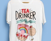 Tea Drinker, Overthinker Illustrated Unisex Organic Cotton Tshirt. Earth Positive & Vegan Friendly in sizes XS-3XL.