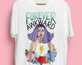 Forever Awkward Illustrated Unisex Organic Cotton Tshirt. Earth Positive & Vegan Friendly in sizes XS-3XL.