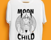 Moon Child Illustrated Unisex Organic Cotton Tshirt. Earth Positive & Vegan Friendly in sizes XS-3XL.