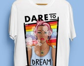Dare To Dream Illustrated Unisex Fit Organic Cotton Tshirt. Earth Positive & Vegan Friendly in sizes XS-3XL.