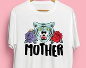 Mother Tiger Illustrated Unisex Fit Organic Cotton Tshirt. Earth Positive & Vegan Friendly in sizes XS-3XL.