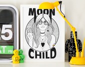 Moon Child Black and White Illustrated Line Art Matt Poster Print