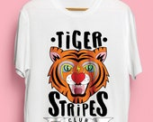 Tiger Stripes Club Illustrated Unisex Organic Cotton Tshirt. Earth Positive & Vegan Friendly in sizes XS-3XL.