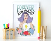 Forever Awkward Colourful Illustrated Art Matt Poster Print