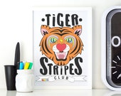 Tiger Stripes Club Colourful Illustrated Art Matt Poster Print