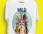 Wild Child Colourful Illustrated Unisex Organic Cotton Tshirt. Earth Positive & Vegan Friendly in sizes XS-3XL.