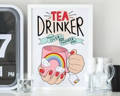 Tea Drinker, Over Thinker Colourful Illustrated Art Matt Poster Print