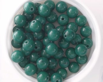 Evergreen Mountain Jade Beads, Dyed Dolomite Marble Beads, 6mm round, 20 pcs, beads for jewelry making, jewelry supplies