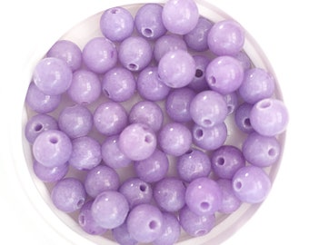 Lavender Mountain Jade Beads, Dyed Dolomite Marble Beads, 6mm round, 20 pcs, beads for jewelry making, jewelry supplies
