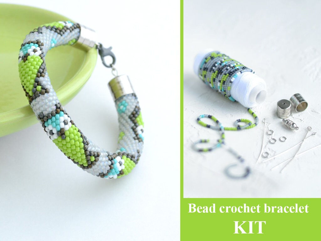 Bead Crochet Bracelet Kit Bracelet Making Kit Beaded Rope Etsy