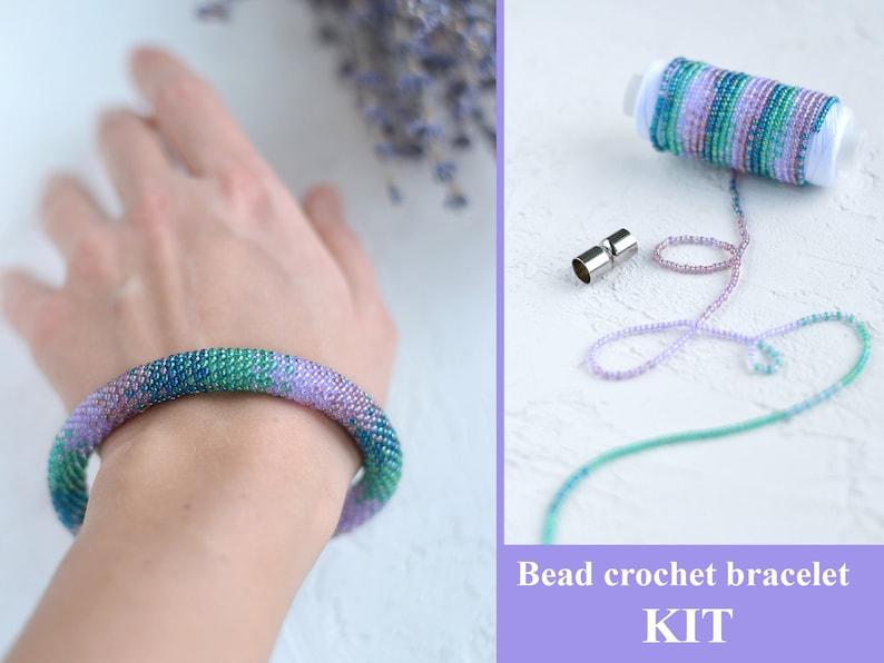 Bead Crochet Rope Bracelet Kit Beaded Bracelet Pattern Etsy