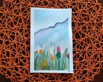 Mountain Flowers Original Watercolor